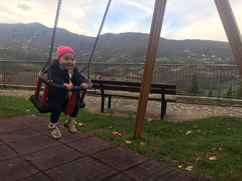 Sistilia swinging in Cerreto di Spoleto, not far from Cascia