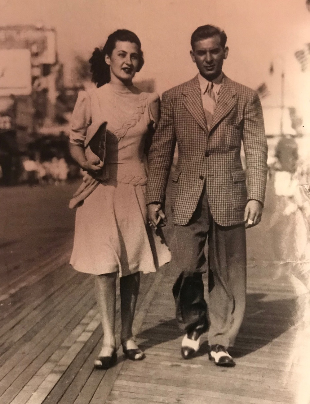 Aunt Norma and Uncle Jimmy walking the boards