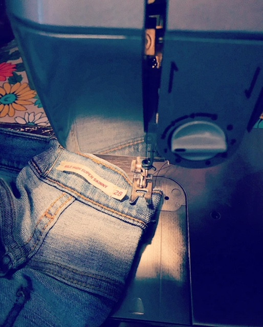 Most machines can handle the denim used on todays jeans.