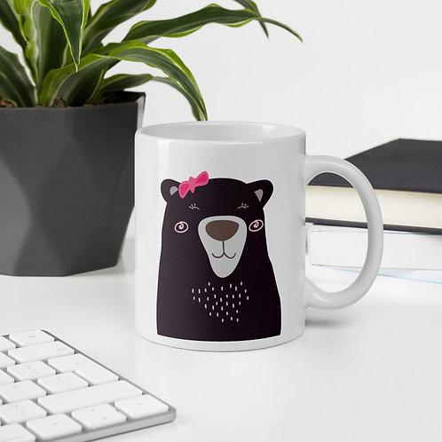 Bearly Awake - White glossy mug