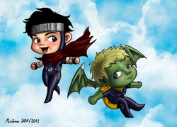 Chibi Wiccan and Hulkling
