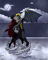"""""""Moonlight Flight"""" by A Girl of Many Fandoms. Fan Artwork of Billy& Teddy ( a.k.a. Wiccan and Hulkling )from Marvel's """"Young Avengers""""."""