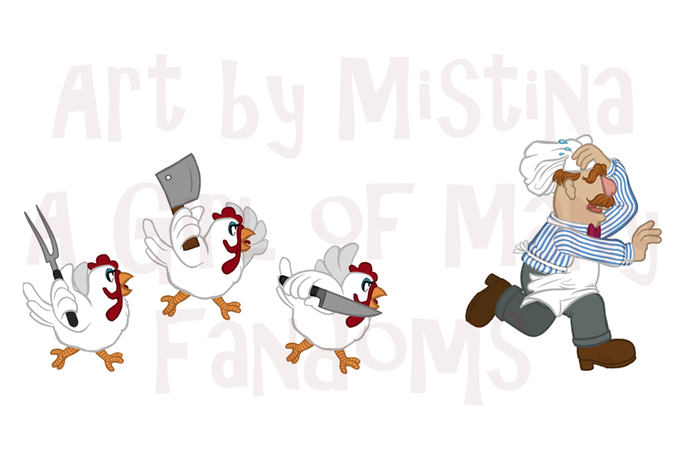Chickens Chase Swedish Chef
