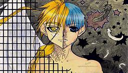 """The Disease is Me"" by A Girl of Many Fandoms. Fan Artwork of Satoshi Hiwatari & Kradfrom""D.N.Angel""."
