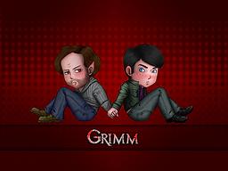 """Grimm Chibis"" by A Girl of Many Fandoms. Fan Artwork of Monroe & Nick Burkhardt from NBC's ""Grimm""."