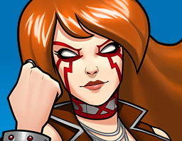 "A gif set featuring Angela from the Marvel Comics phone game ""Avengers Academy""."