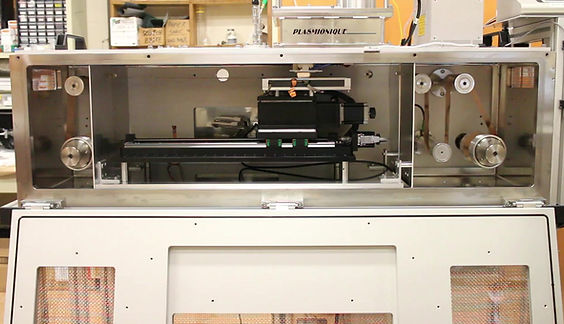 This R&D R2R system also includs a Moving stage for treating hard samples in Various stations