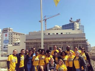 Raising the Warriors flag over Oakland City Hall