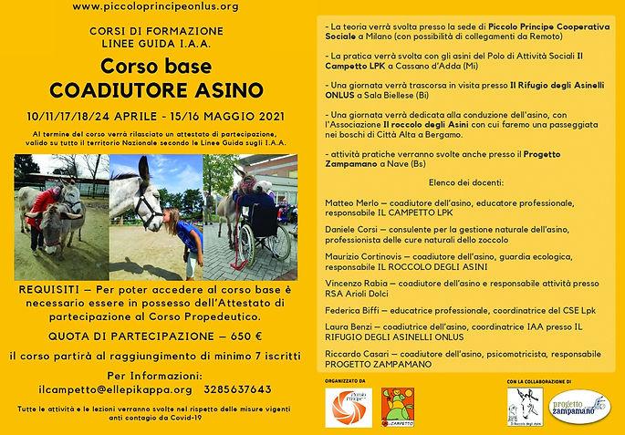 Locandina corso base COADIUTORE ASINO 20
