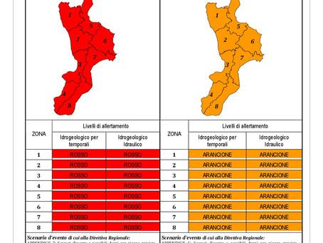 MESSAGGIO UNIFICATO DI ALLERTAMENTO METEO – FASE PREVISIONALE – PROTEZIONE CIVILE CALABRIA