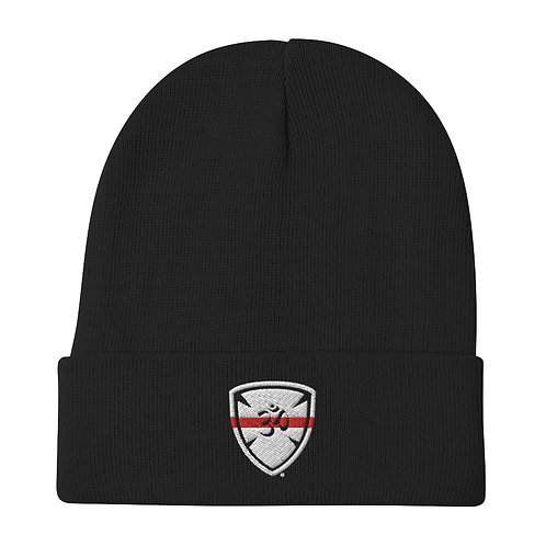 Red Line Yoga For First Responders Embroidered Beanie