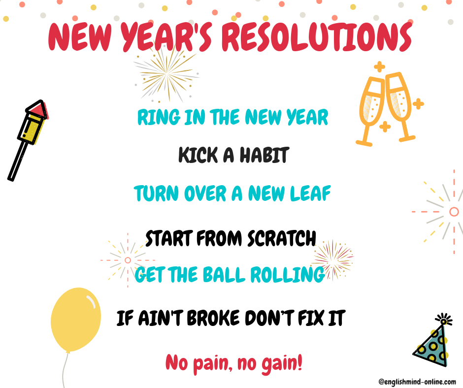 English idioms, New Year's resolutions, English New Year Vocabulary