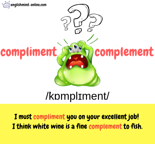 compliment vs complement - Commonly confused words in English - Learn English Visually