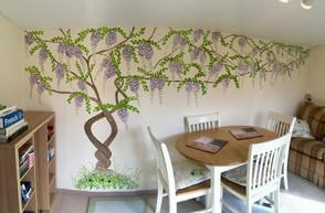 Wisteria tree mural