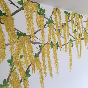 Golden chain tree branches