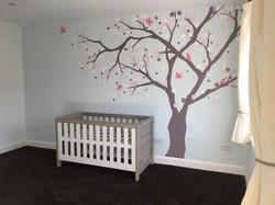 Nursery room cherry blossom tree