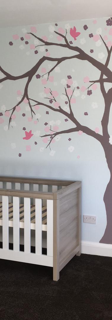 Nursery room tree mural