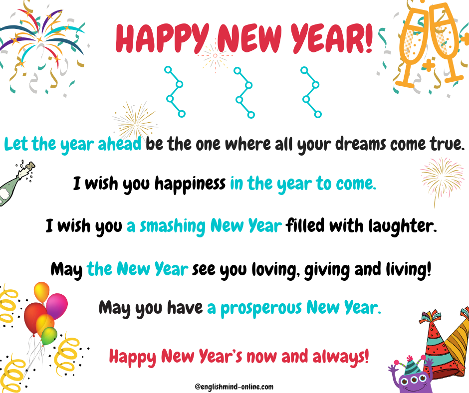 Happy New Year - greetings and wishes in English