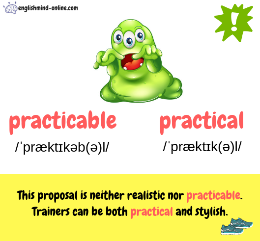 practicable vs practical - English confusing words - Homophones