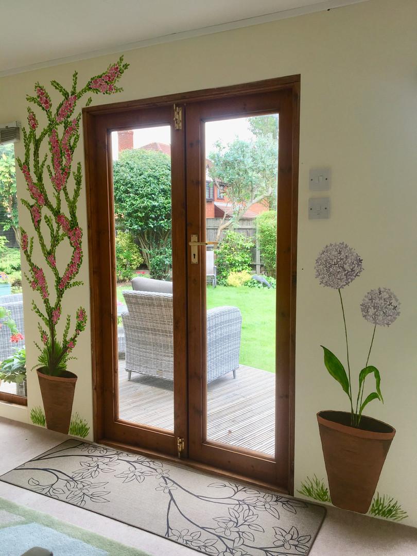 Garden room door murals
