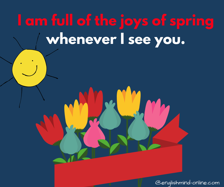 happy idioms in English - other ways to say I'm happy - I am full of the joys of spring