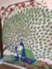 Two peacoks sitting under a tree murl