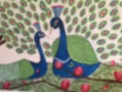 Detail of a muralof two peacoks