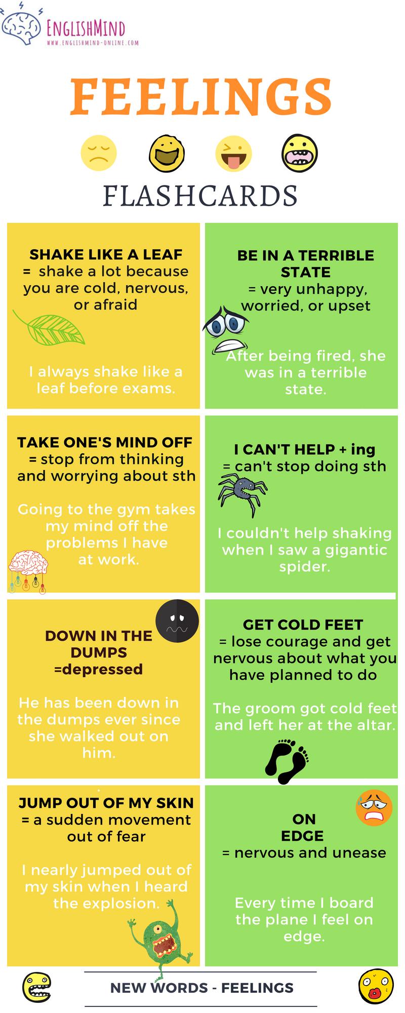 feelings - afraid, worried, nervous or depressed.