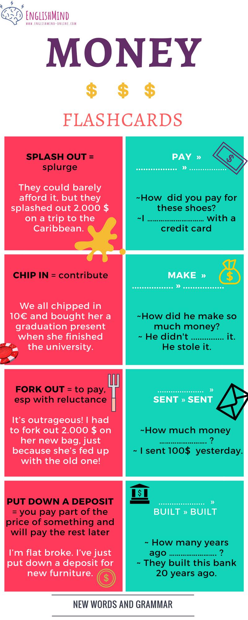Money - phrasal verbs and grammar.