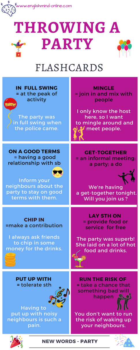 Throwing a party - English vocabulary