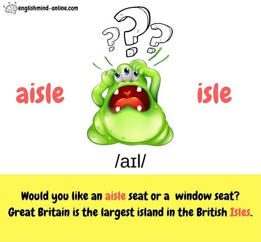 aisle vs isle - confusing words in English - homophones