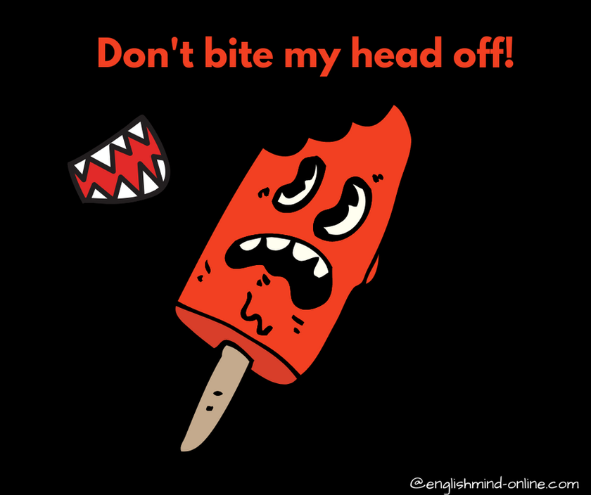 English angry idioms - don't bite my head off