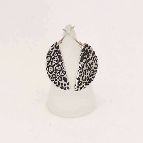 Leopard spotted half moon earrings