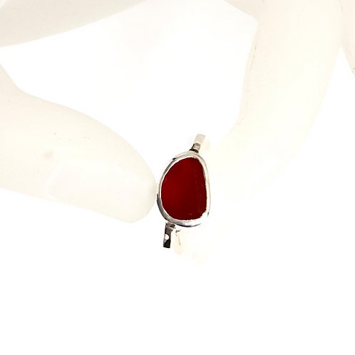 Hand Forged sterling ring set with an orange red agate
