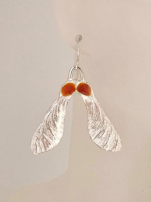 Maple seed earrings with rose pink enamel