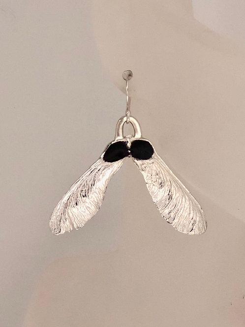 Maple seed earrings with concord purple enamel