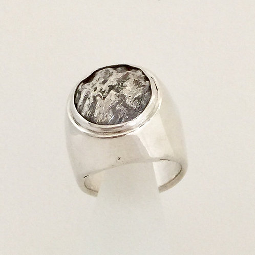 Dome Ring with Reticulated Silver