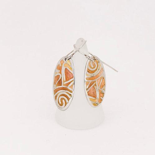 Peach enamel earrings