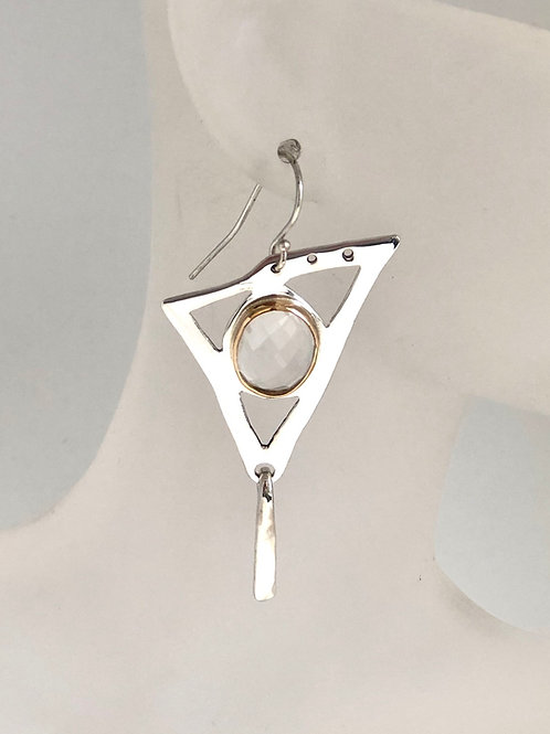Triangles and gold quartz earrings