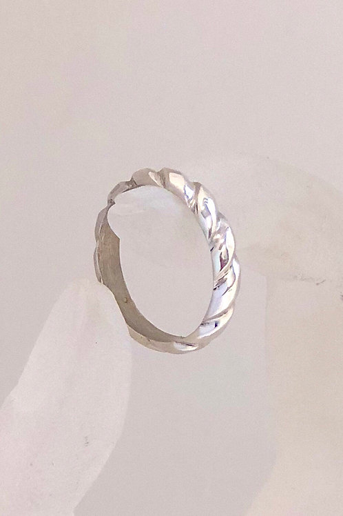 Carved silver ring