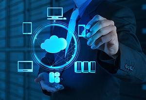 Businessman working with a Cloud Computi