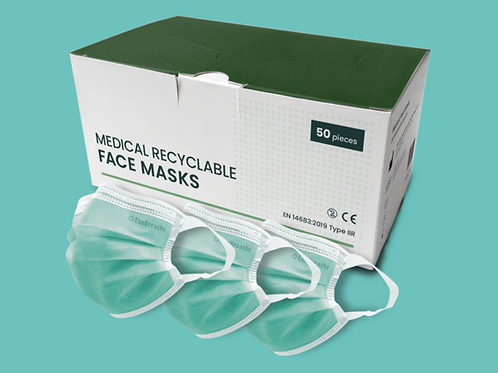 Recyclable disposable 3 ply face mask