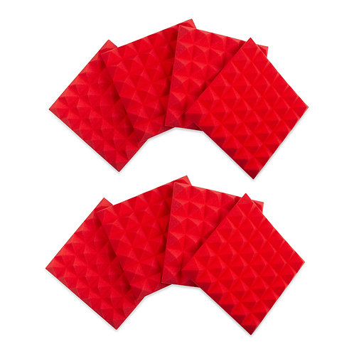 """8 Pack of Red 12x12"""" Acoustic Pyramid Panel : Gator Frameworks"""