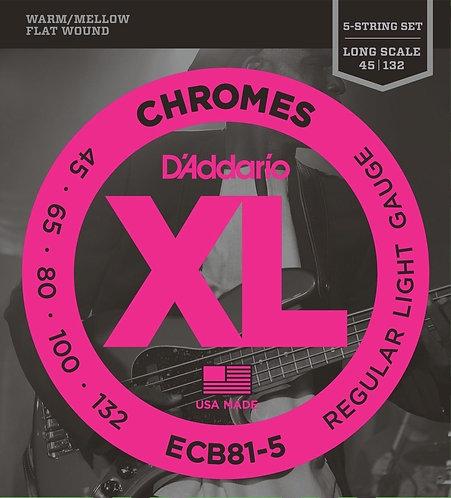 ECB81-5 Chromes XL Flatwound Bass Strings - D'Addario