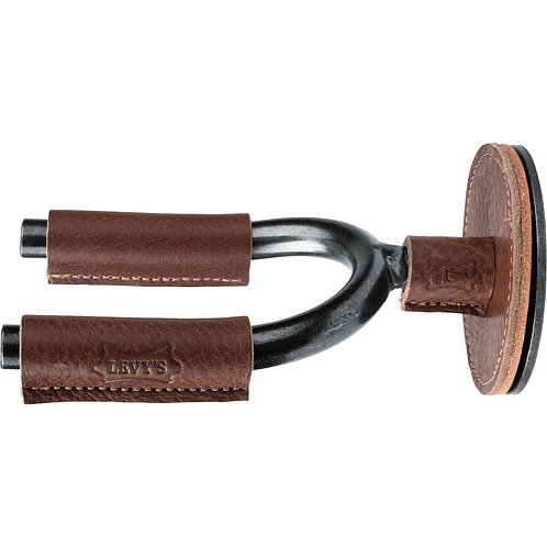 Smoke Forged Guitar Hanger with Brown Leather : Levy's