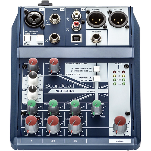 Notepad-5 Small Format Analog Mixing Console w/ USB I/O : Soundcraft