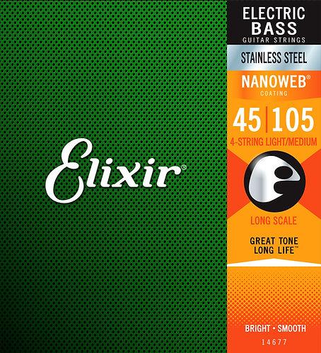 14677 NanoWeb Stainless Steel Electric Bass Strings 45-105 : Elixir
