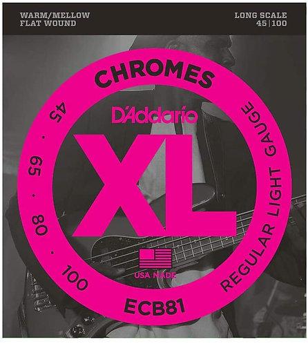 Regular Light Chrome Flat Wound 5-string Super Long Scale Bass Strin : D'addario