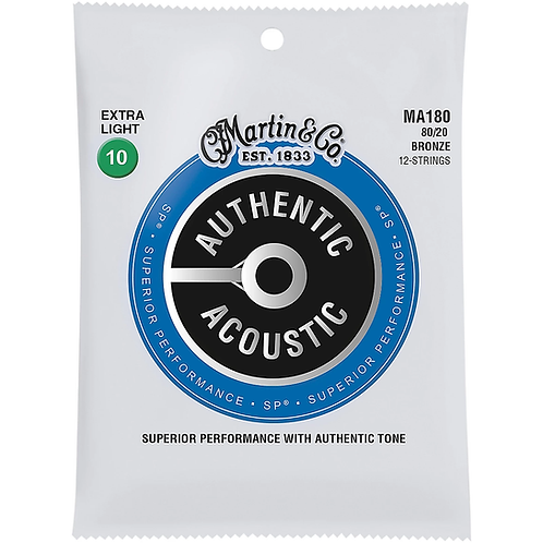 MA180 SP 12-String 80/20 Bronze Extra-Light Acoustic Strings : Martin