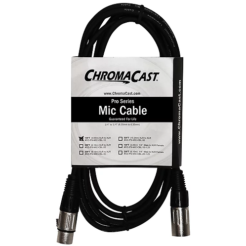 10ft Pro Series Mic Cable with XLR to XLR Ends - Chromacast